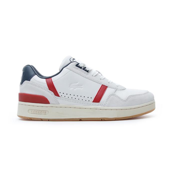 Lacoste T-Clip Erkek Beyaz - Lacivert - Kırmızı Spor Ayakkabı