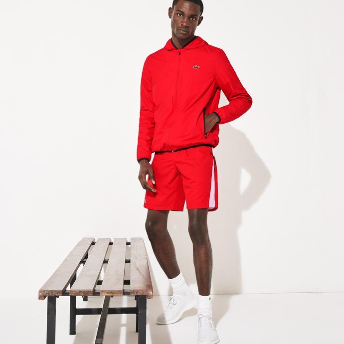 Lacoste Sport Erkek Kapüşonlu Kırmızı Mont