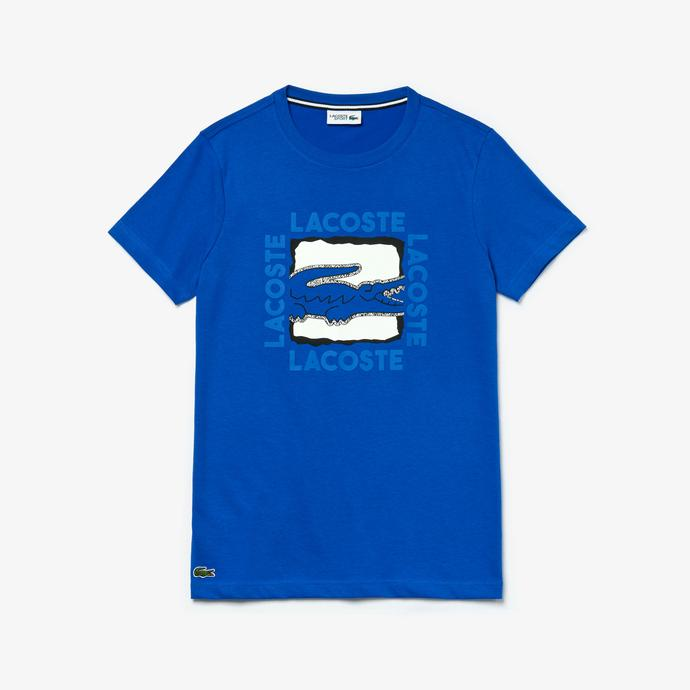 Lacoste Sport Erkek Bisiklet Yaka Baskılı Saks Mavi T-Shirt
