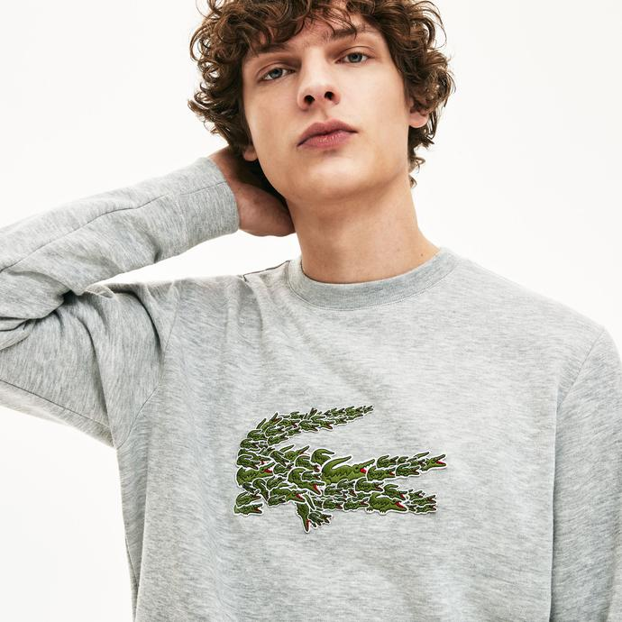 Lacoste Croco Magic Erkek Gri Sweatshirt