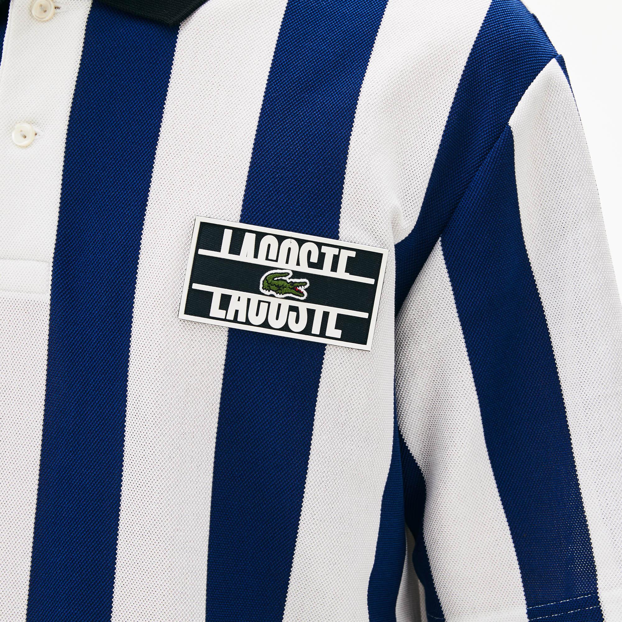 Lacoste L!VE Erkek Regular Fit Çizgili Lacivert - Beyaz Polo