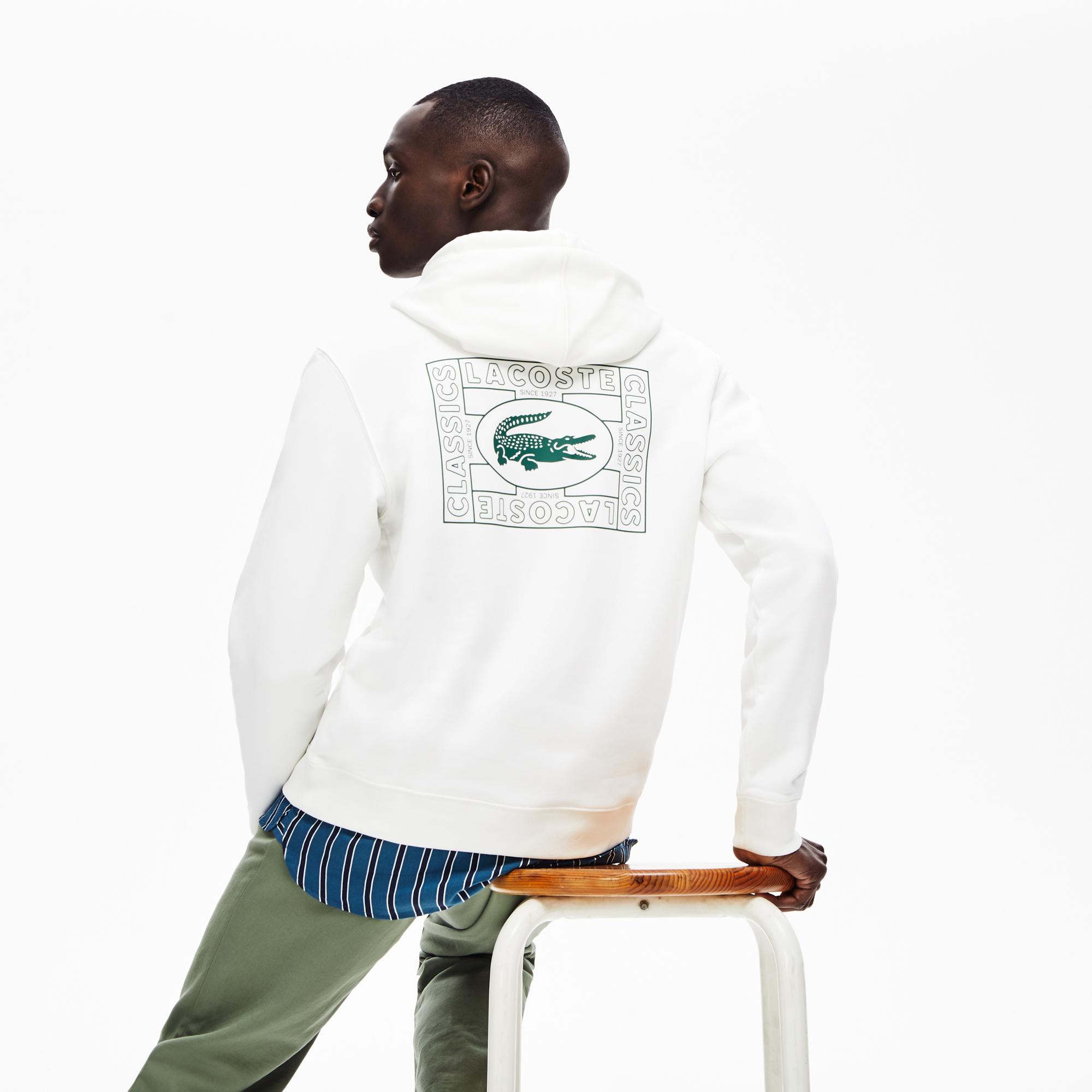 Lacoste Erkek Kapüşonlu Baskılı Beyaz Sweatshirt