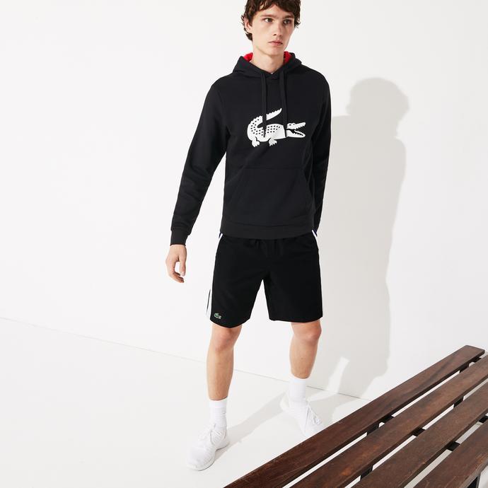 Lacoste Sport Erkek Kapüşonlu Baskılı Siyah Sweatshirt