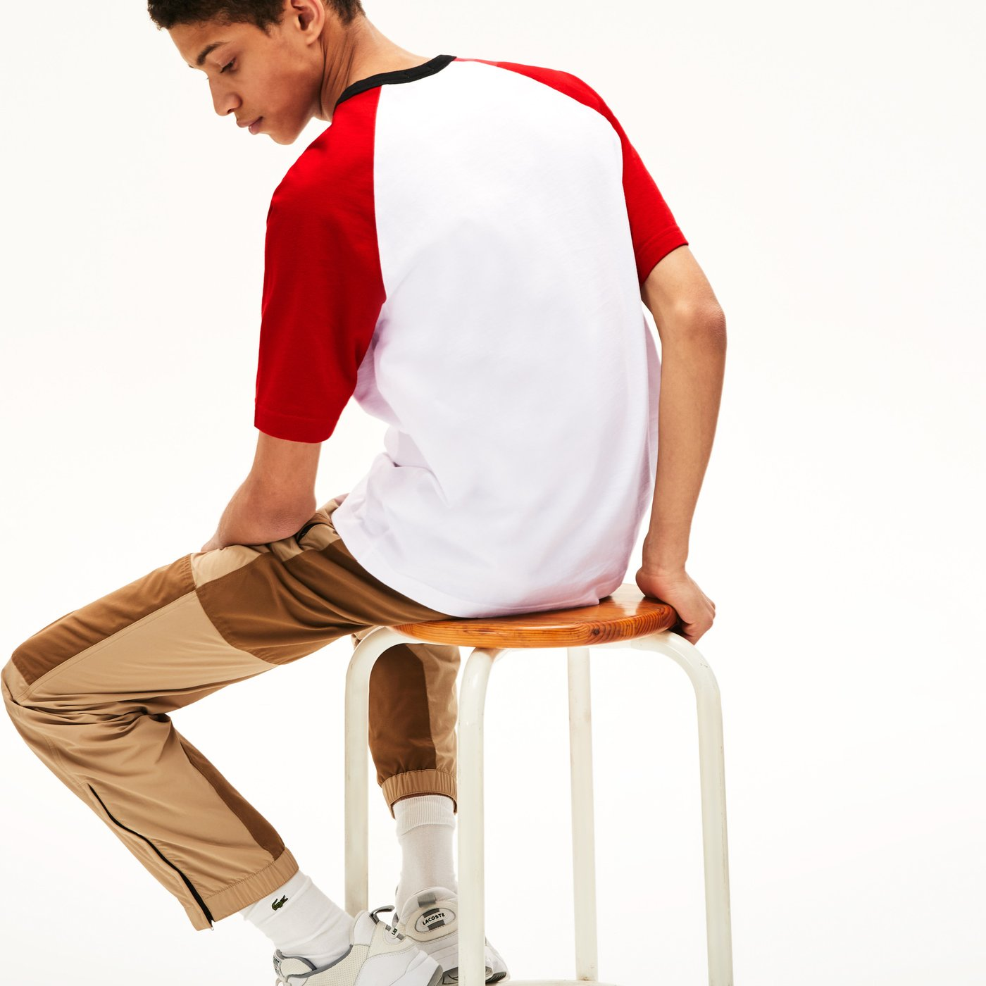 Lacoste L!VE Erkek Bisiklet Yaka Blok Desenli Beyaz - Kırmızı T-Shirt