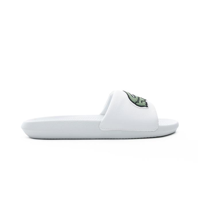 Lacoste Croco Slide Erkek Beyaz - Yeşil Terlik