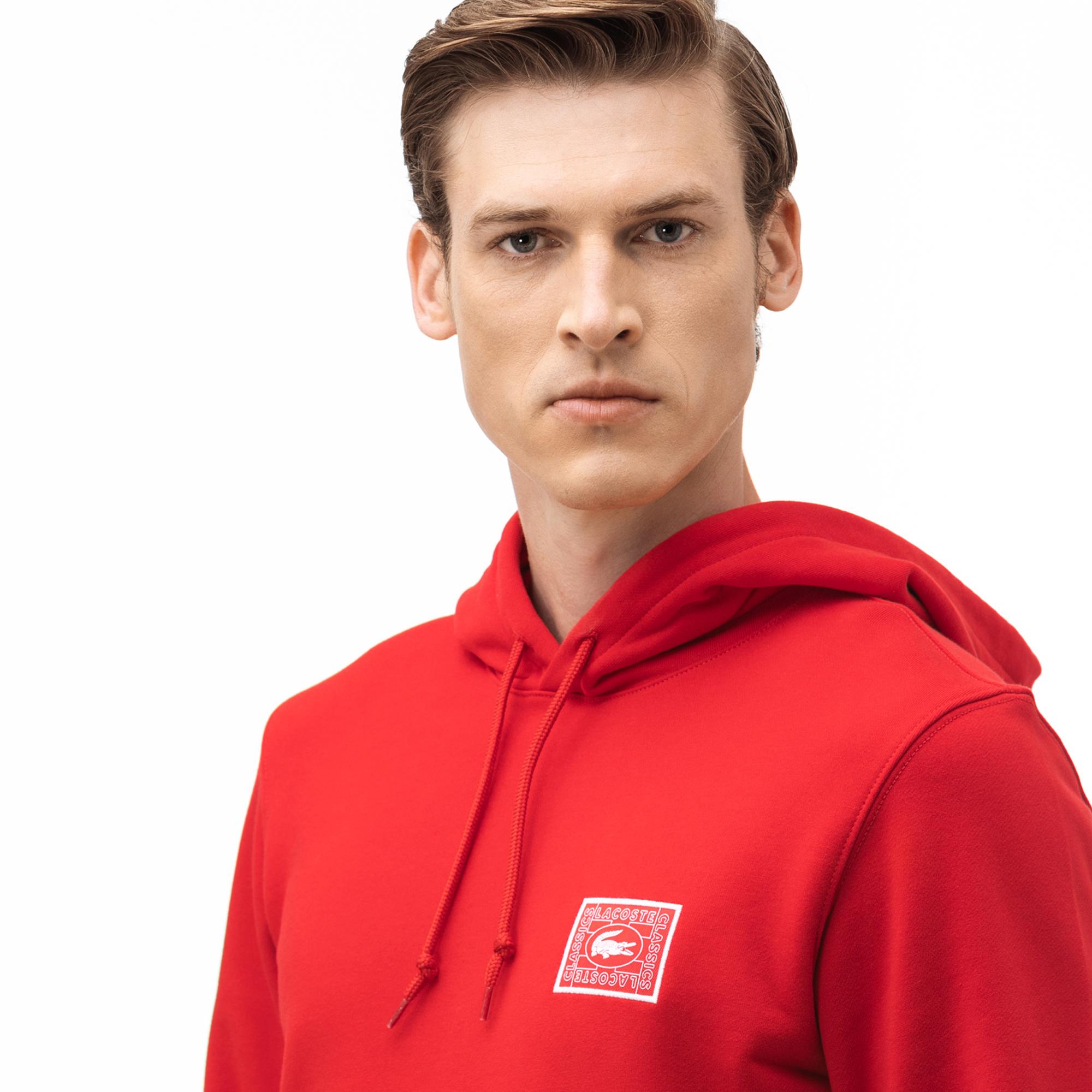 Lacoste Erkek Kapüşonlu Baskılı Kırmızı Sweatshirt