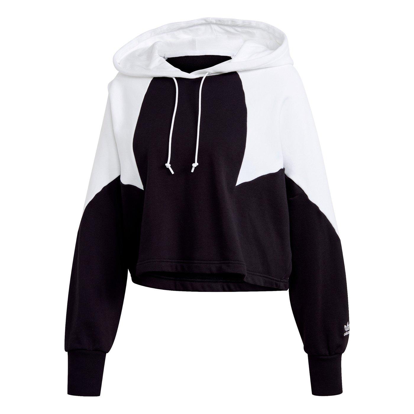 adidas Big Trefoil Crop Kapüşonlu Kadın Siyah Sweatshirt