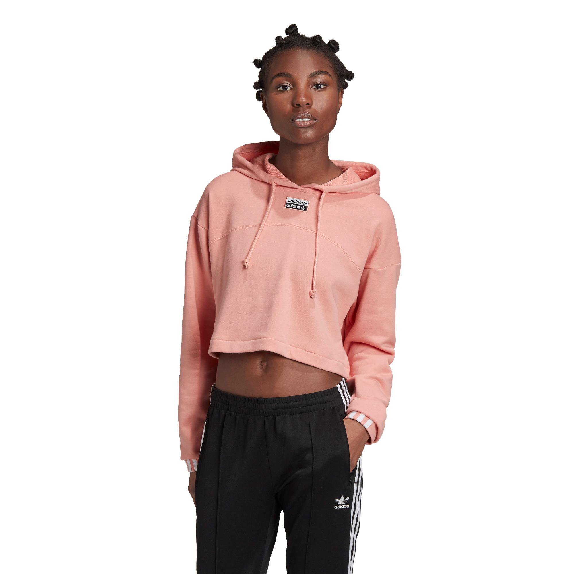 R.Y.V. Cropped Kapüşonlu Kadın Pembe Sweatshirt