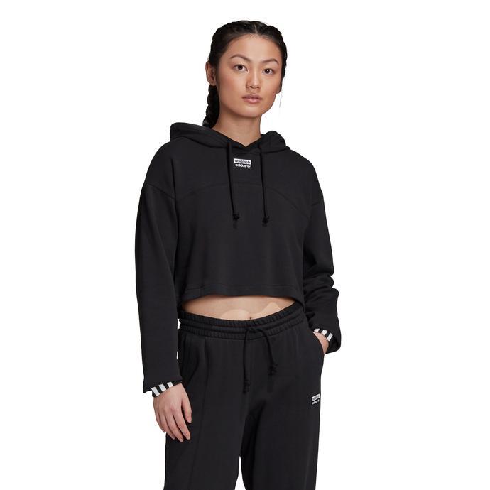 adidas R.Y.V. Cropped Kapüşonlu Kadın Siyah Sweatshirt