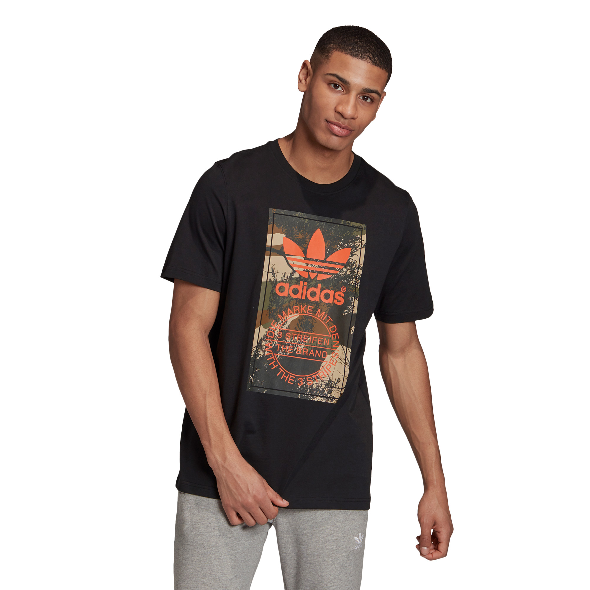 adidas Camo Tongue Erkek Siyah T-Shirt