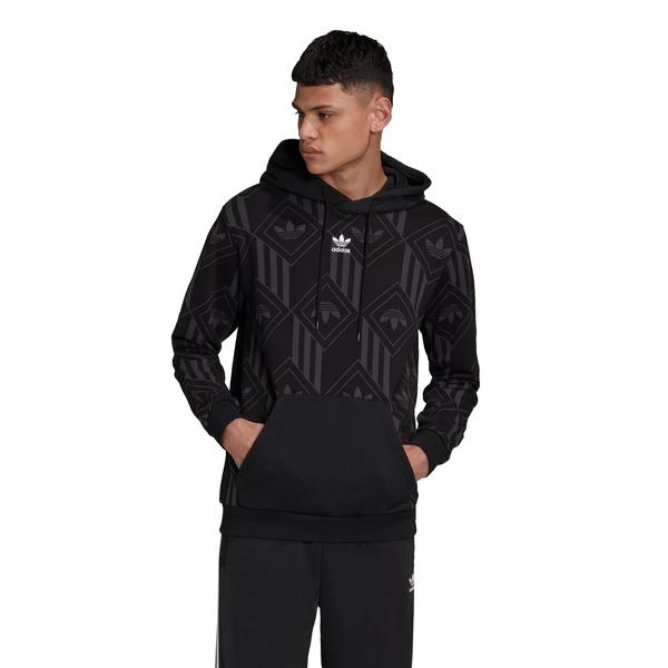 adidas Monogram Kapüşonlu Erkek Siyah Sweatshirt