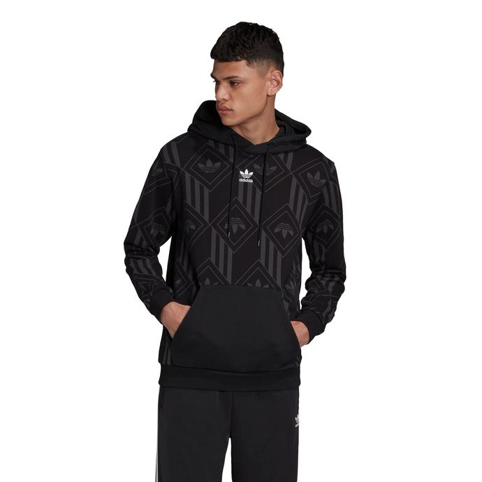 Monogram Kapüşonlu Erkek Siyah Sweatshirt