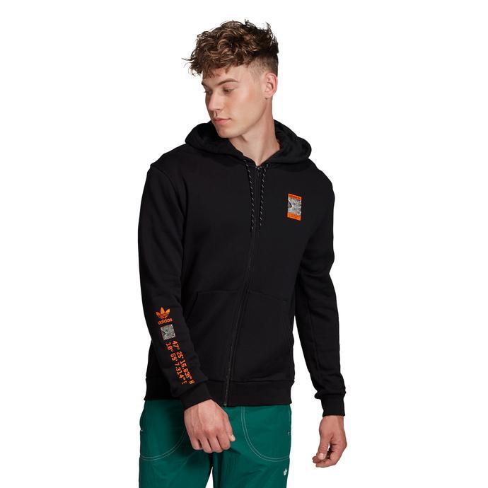 Adventure Full Zıp Kapüşonlu Erkek Siyah Sweatshirt