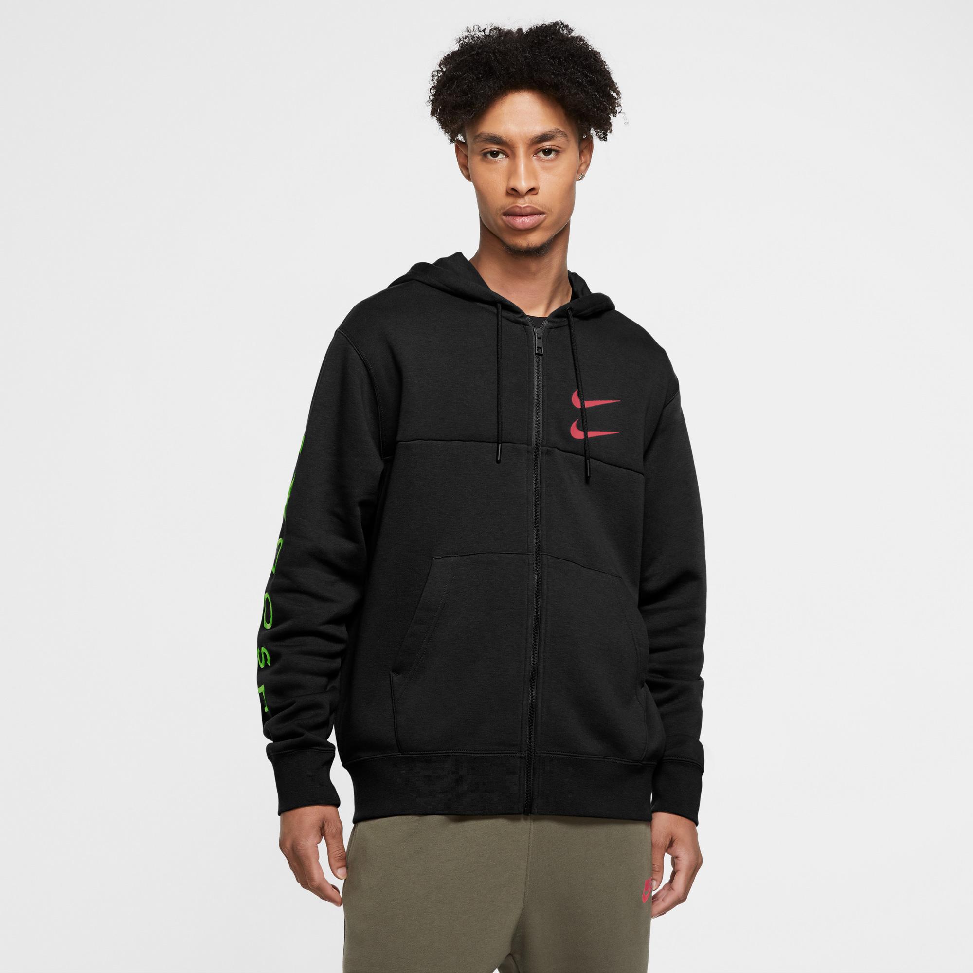 Nike Sportswear Swoosh Erkek Siyah Sweatshirt