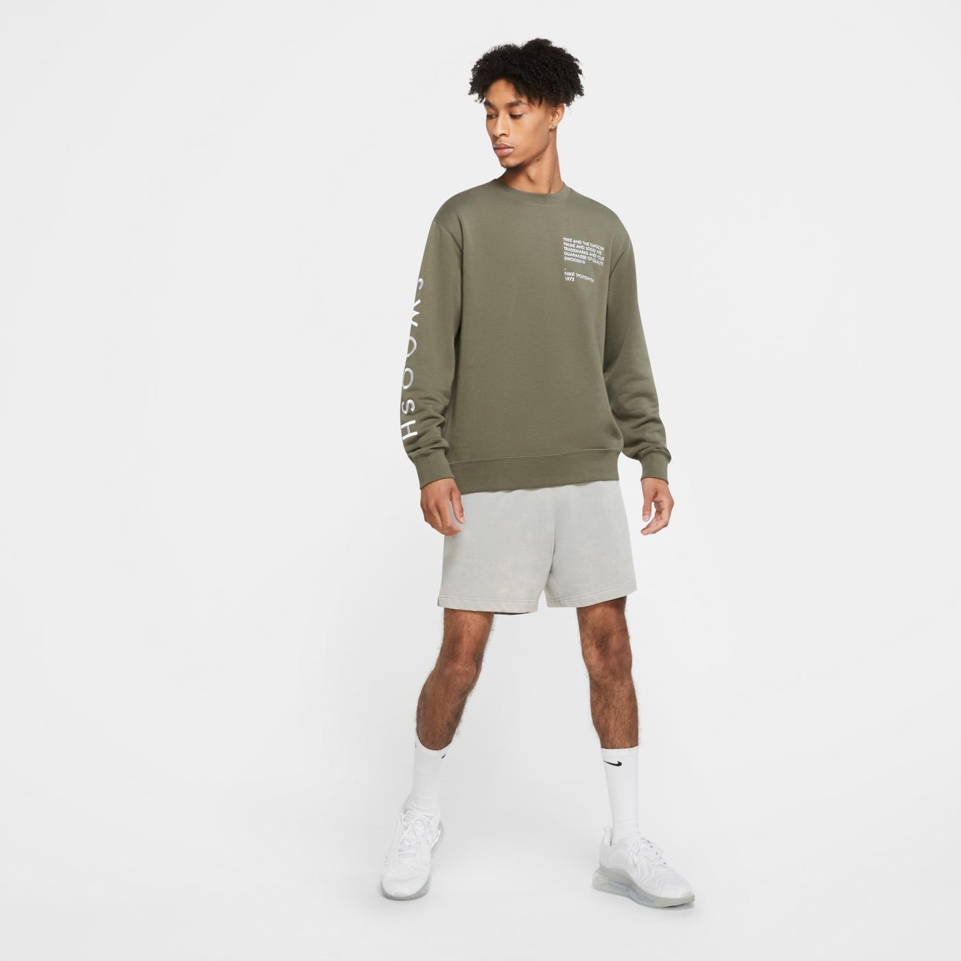 Nike Sportswear Swoosh Crew Yeşil Erkek Sweatshirt