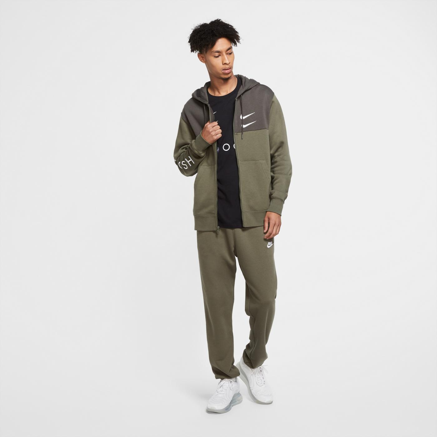 Nike Sportswear Swoosh Erkek Yeşil Sweatshirt