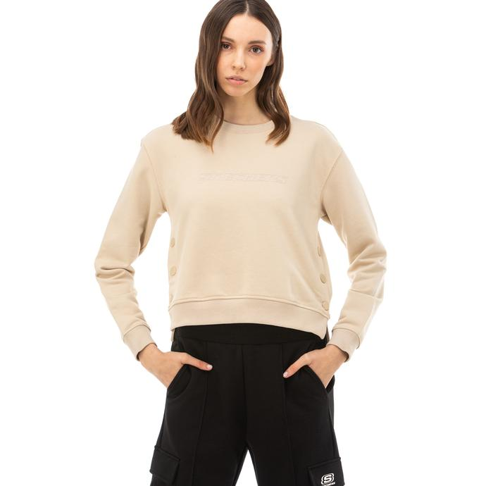 Skechers LW Fleece Kadın Gri Sweatshirt