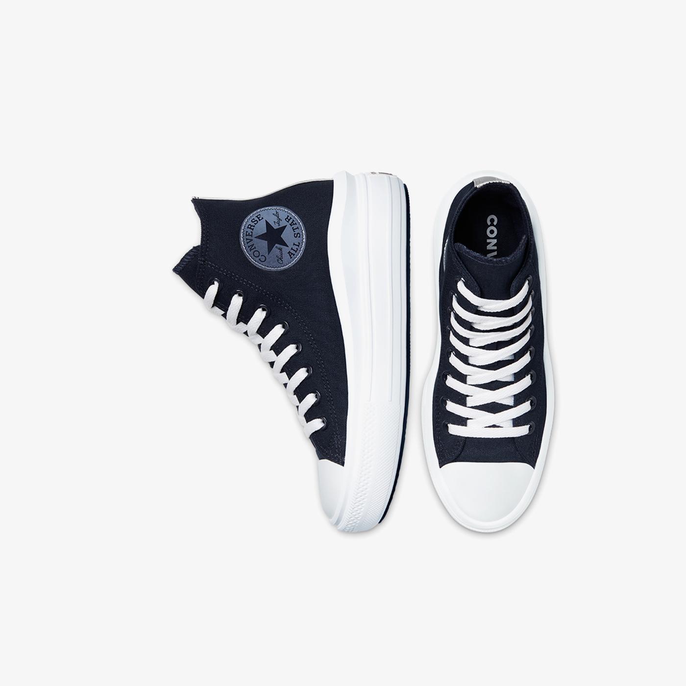 Converse Chuck Taylor All Star Move Platform Glossy Metal Hi Kadın Mavi Sneaker