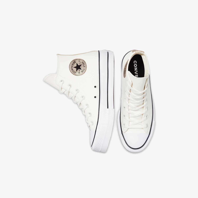 Converse Chuck Taylor All Star Platform Leather Hi Kadın Krem Sneaker