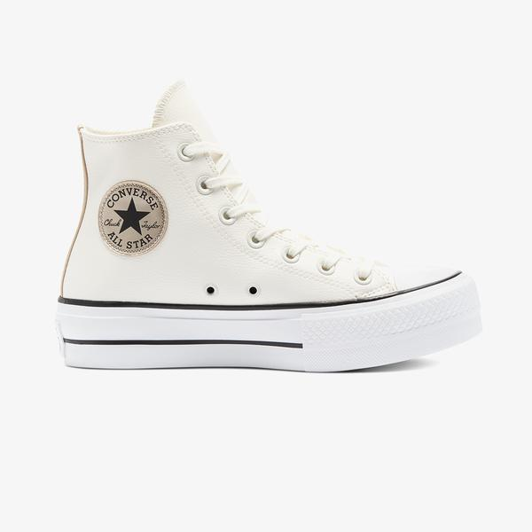 Converse Chuck Taylor All Star Platform Leather Hi Kadın Krem Sneaker