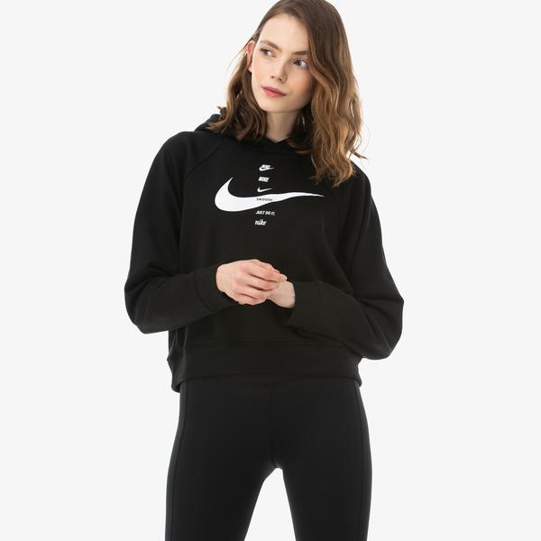 Nike Sportswear Swoosh Kadın Siyah Sweatshirt