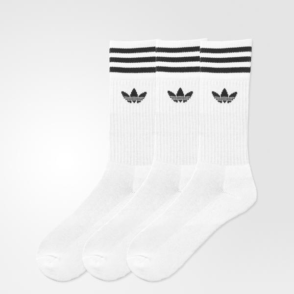 adidas Solid Crew 3'lü Unisex Beyaz Çorap