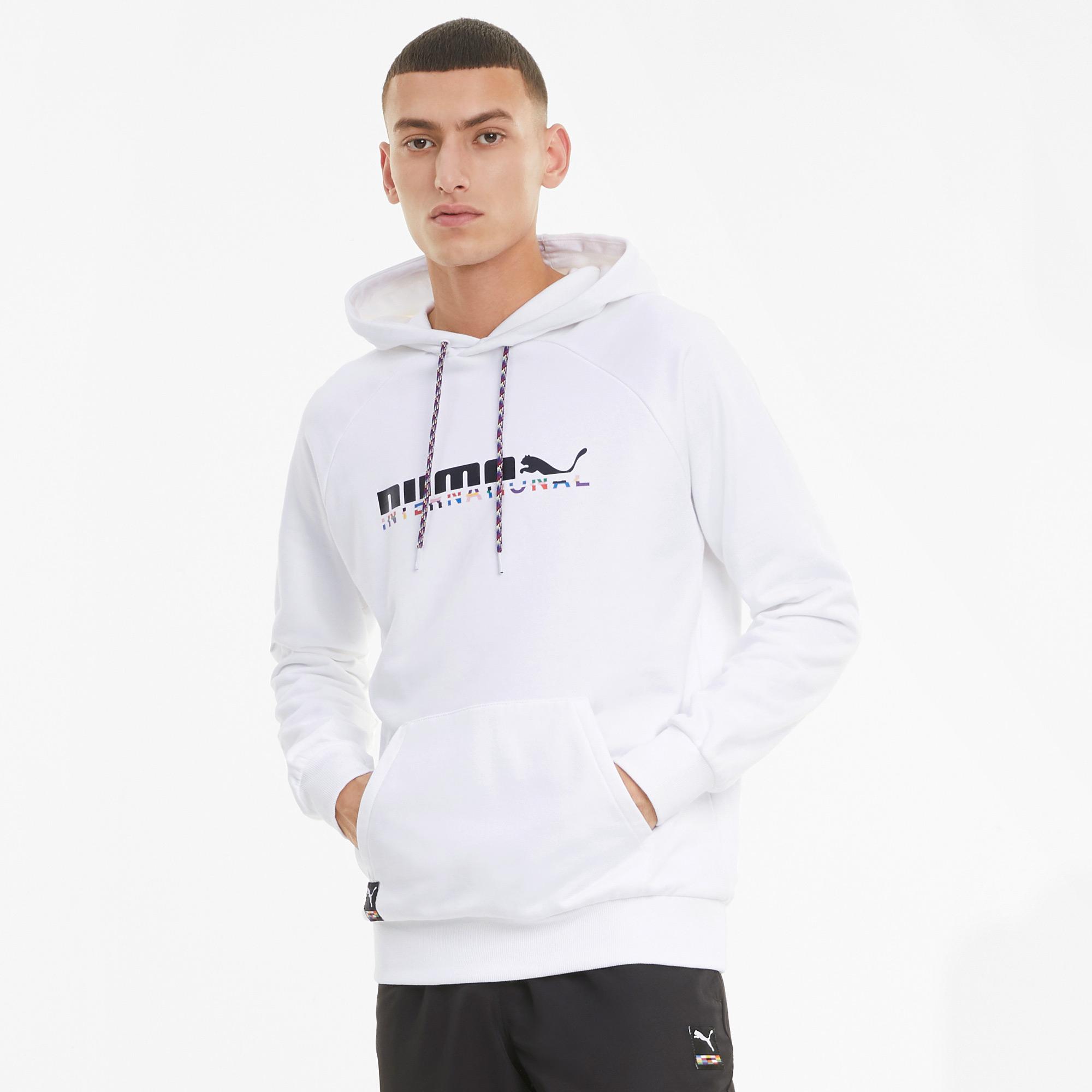 Puma International Erkek Beyaz Kapüşonlu Sweatshirt