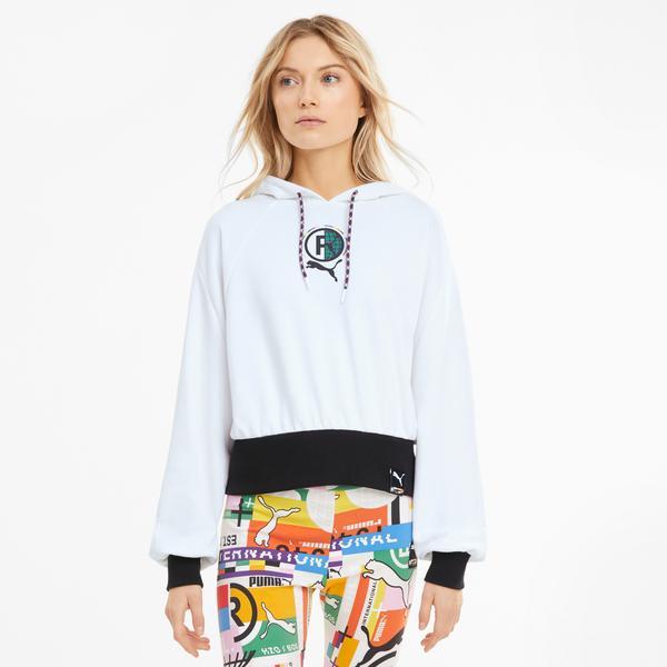 Puma International Kadın Beyaz Kapüşonlu Sweatshirt