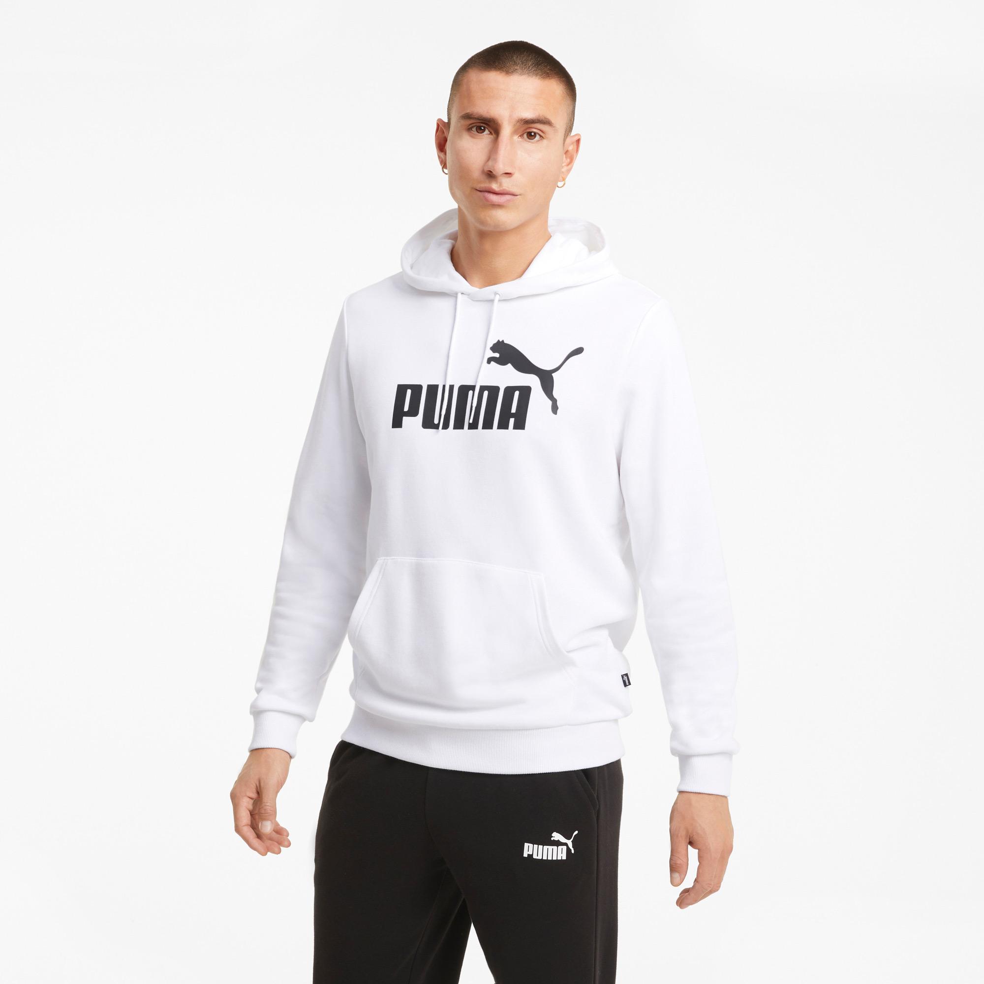 Puma ESS Big Logo Erkek Beyaz Sweatshirt