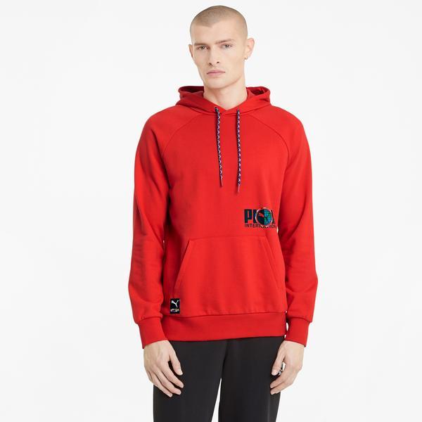 Puma International Graphic Erkek Kırmızı Kapüşonlu Sweatshirt