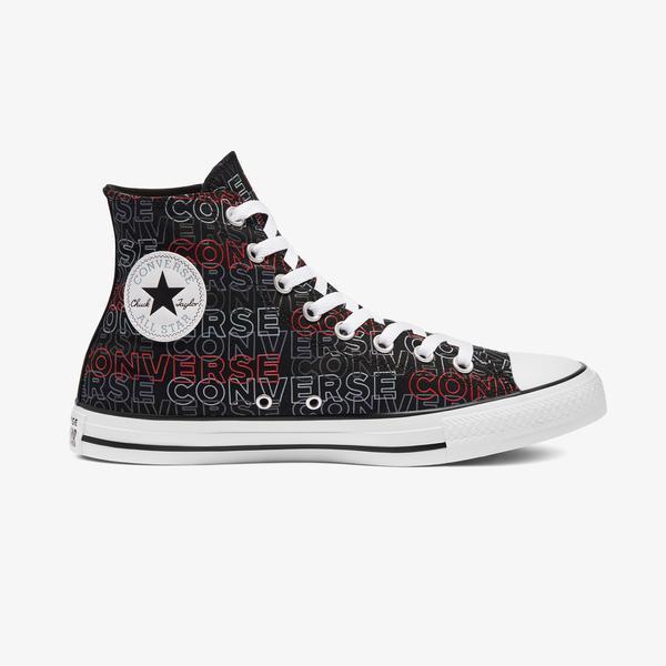 Converse Chuck Taylor All Star Wordmark Print Hi Unisex Siyah Sneaker