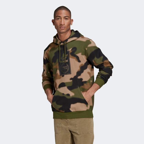 adidas Camo Aop Hoodie Erkek Yeşil Sweatshirt