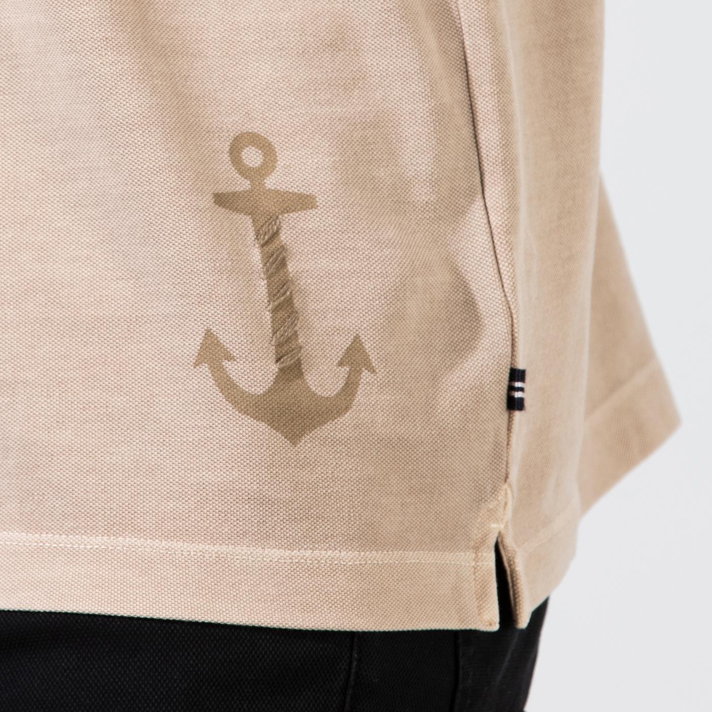 Nautica Erkek Bej Classic Fit Yıkamalı Polo
