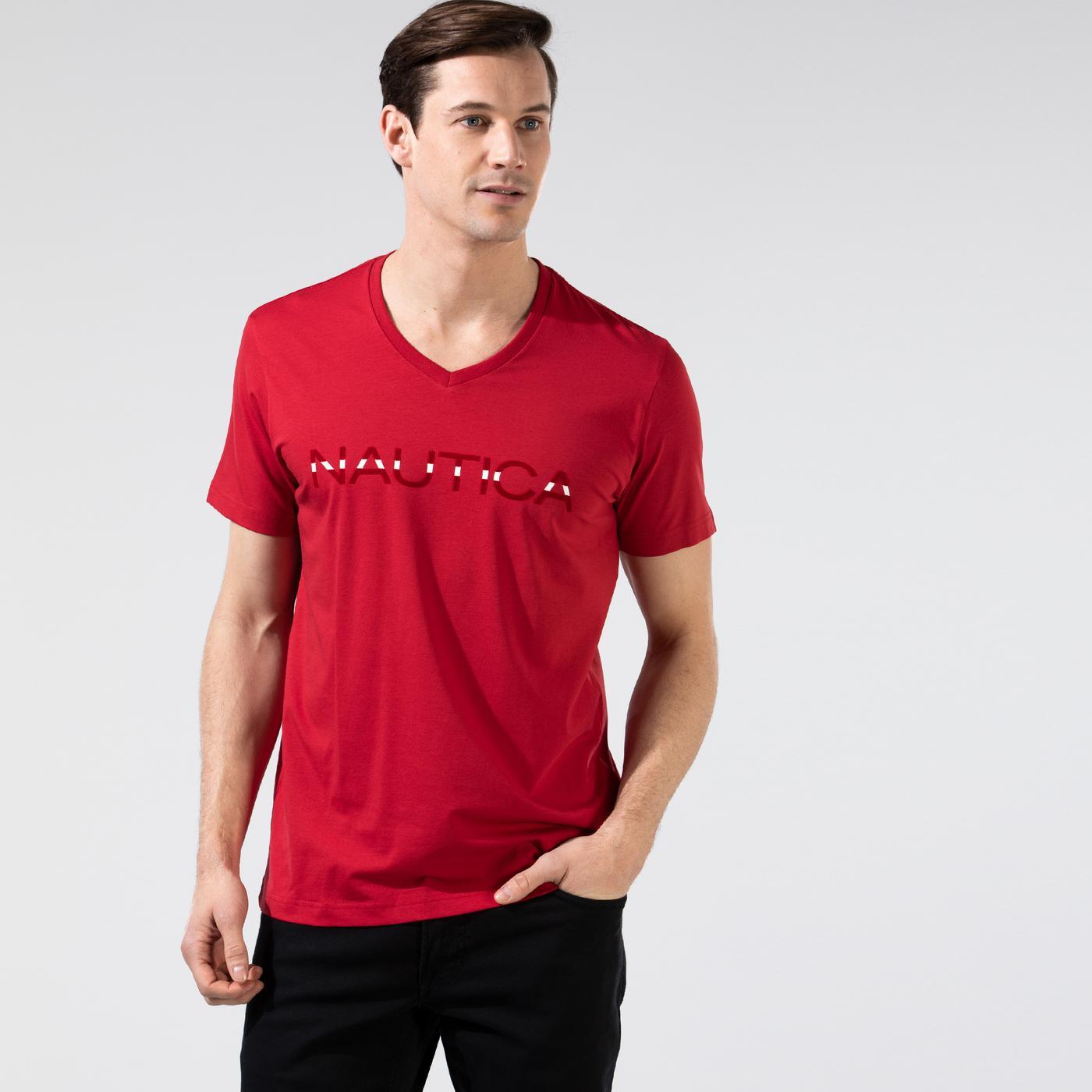 Nautica Erkek Kırmızı V-Yaka T-Shirt