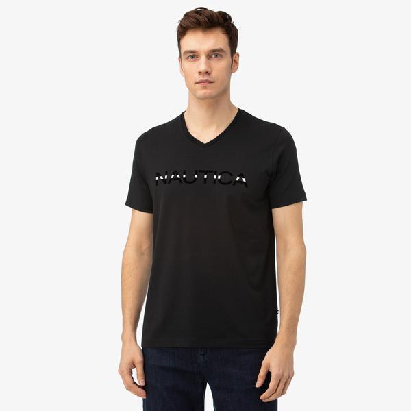 Nautica Erkek Siyah V-Yaka T-Shirt