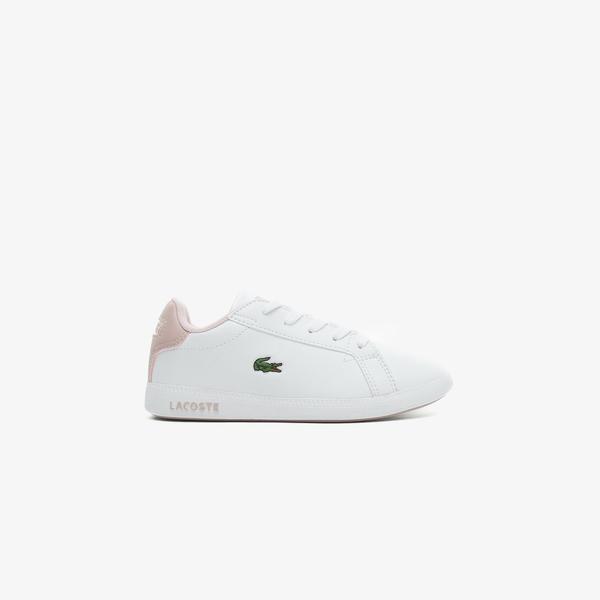 Lacoste Graduate 0721 1 Suc Çocuk Beyaz - Açık Pembe Spor Ayakkabı