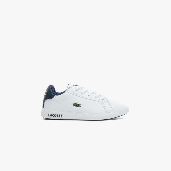 Lacoste Graduate 0721 1 Suc Çocuk Beyaz - Lacivert Spor Ayakkabı