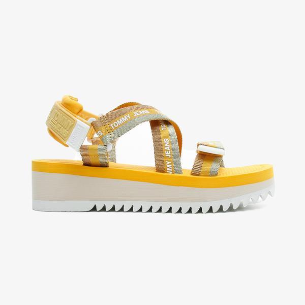 Tommy Hilfiger Lurex Webbing Strappy Kadın Turuncu Sandalet