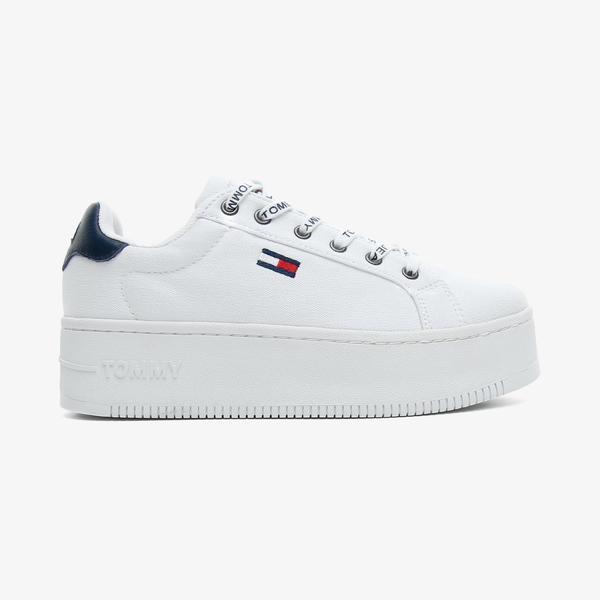 Tommy Hilfiger Iconic Essential Flatform Kadın Beyaz Spor Ayakkabı