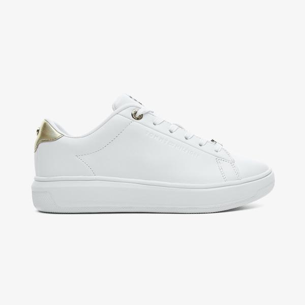 Tommy Hilfiger Metallic Leaer Cupsole Kadın Beyaz Spor Ayakkabı