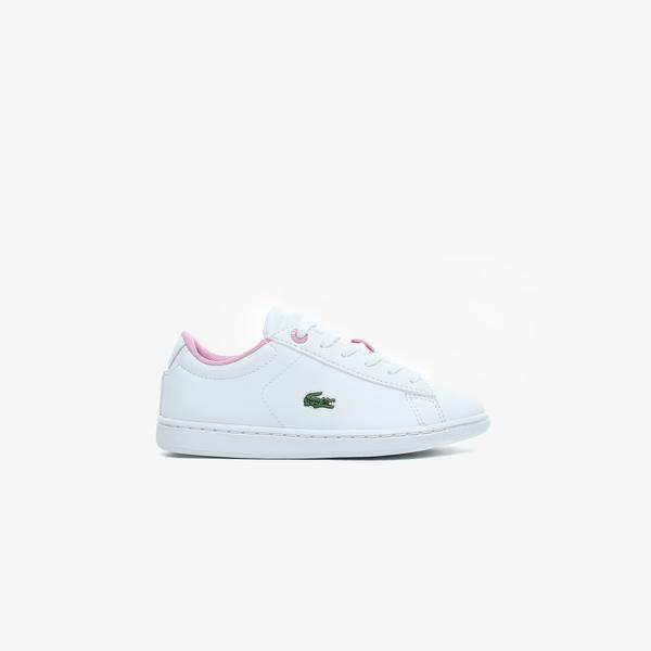 Lacoste Carnaby Evo 0120 2 Suc Çocuk Beyaz - Pembe Spor Ayakkabı
