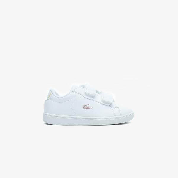 Lacoste Carnaby Evo 0921 1 Sui Çocuk Beyaz - Açık Pembe Spor Ayakkabı