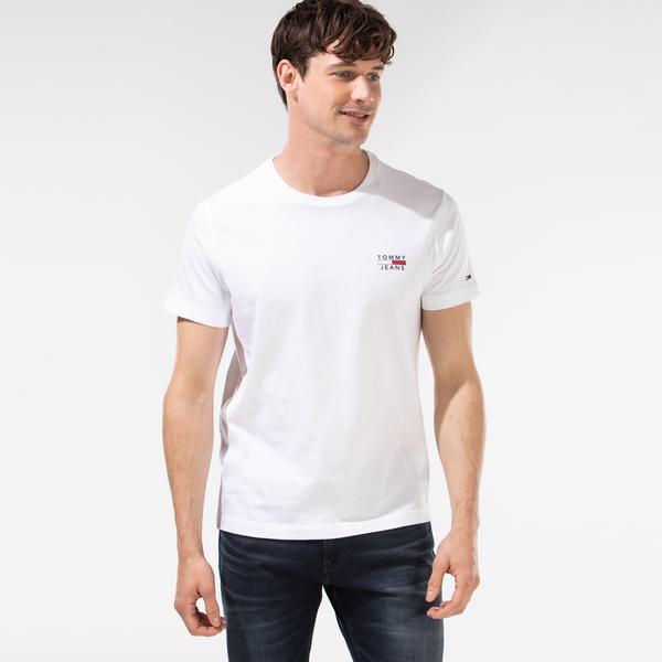 Tommy Hilfiger TJM Chest Logo Erkek Beyaz T-Shirt