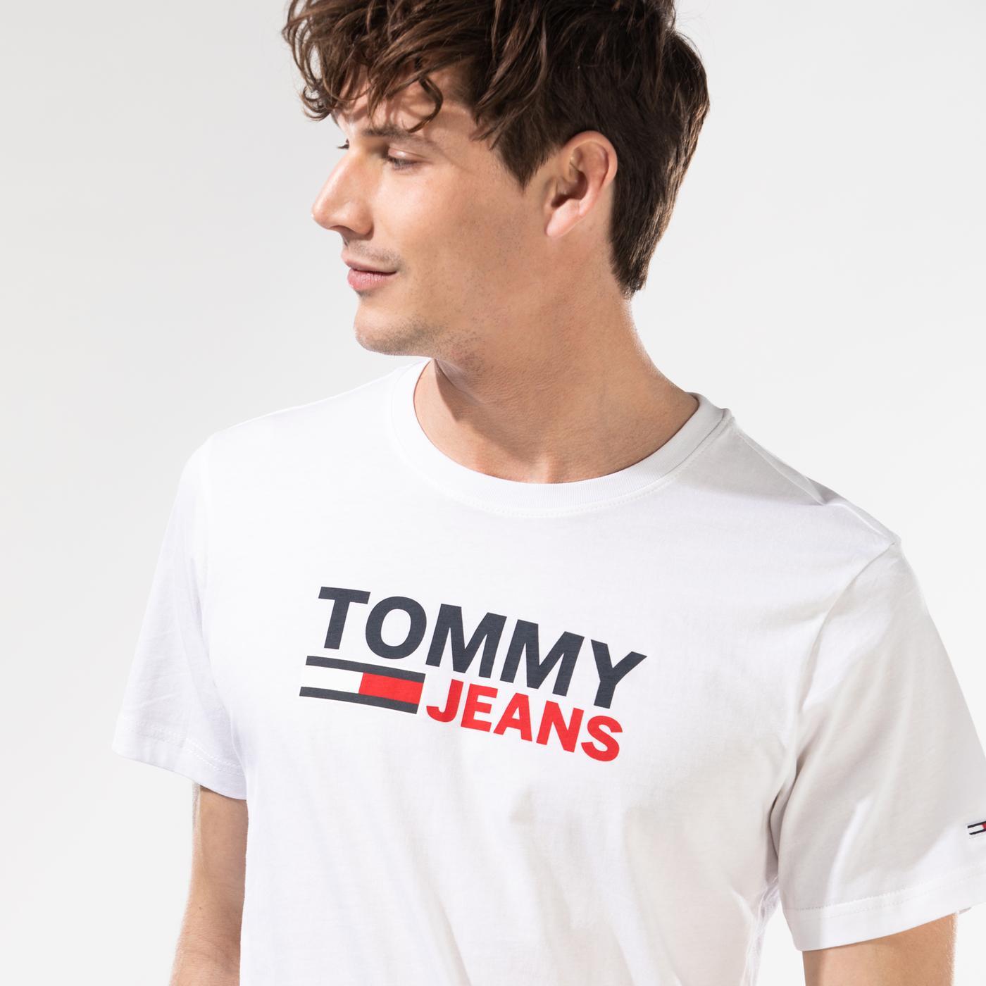 Tommy Hilfiger TJM Corp Logo Erkek Beyaz T-Shirt