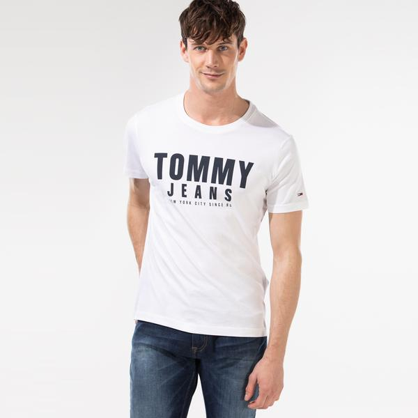 Tommy Hilfiger TJM Center Chest Tommy Graphic Erkek Beyaz T-Shirt