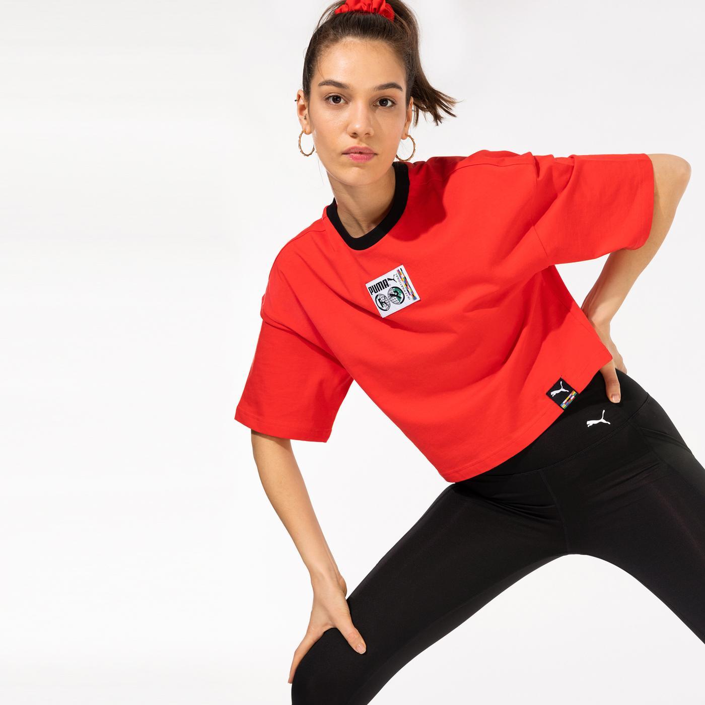 Puma International Graphic Kadın Kırmızı T-Shirt