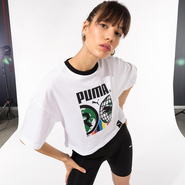 Puma International Graphic Kadın Beyaz T-Shirt
