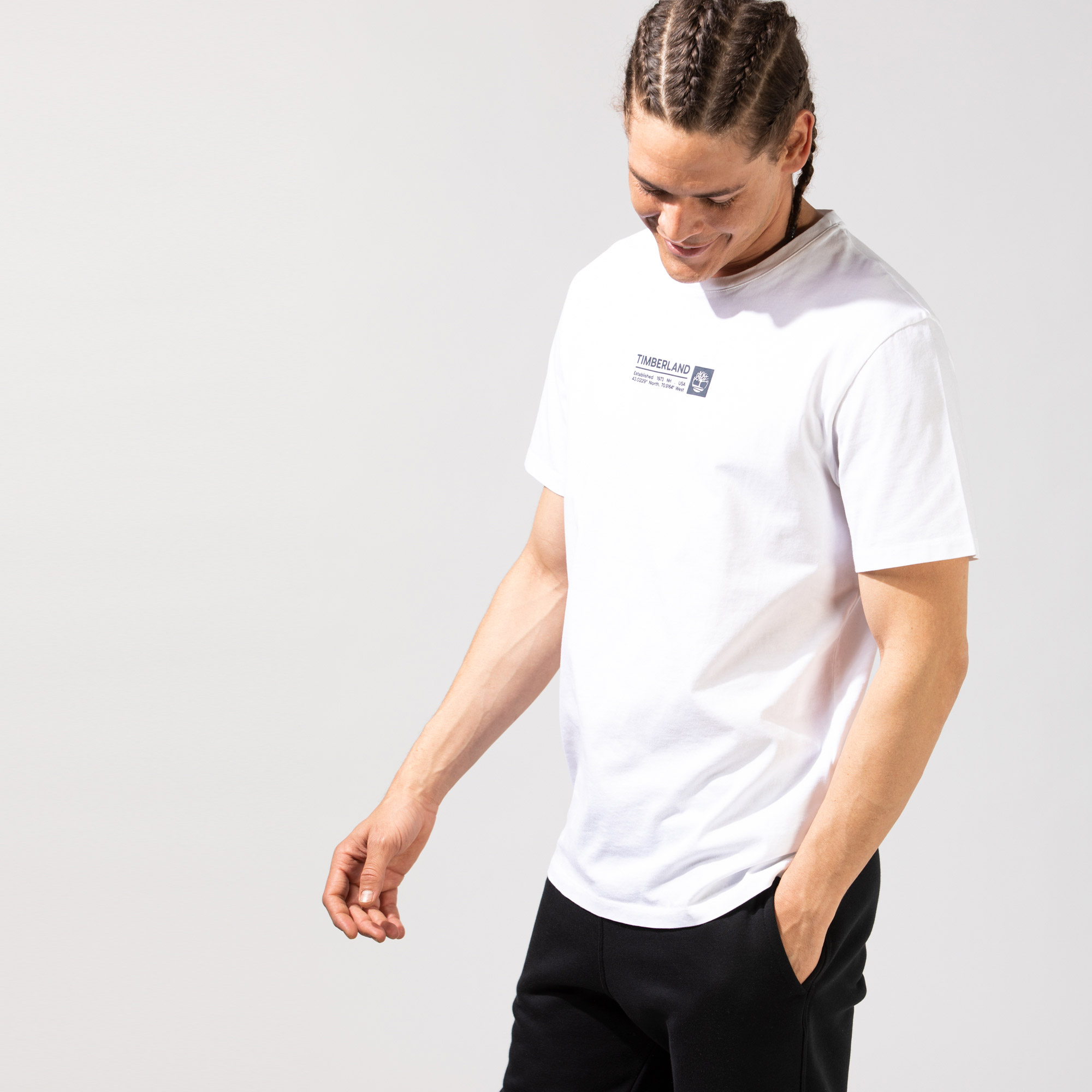 Timberland SS Brand Carrier Mini Linear Erkek Beyaz T-Shirt