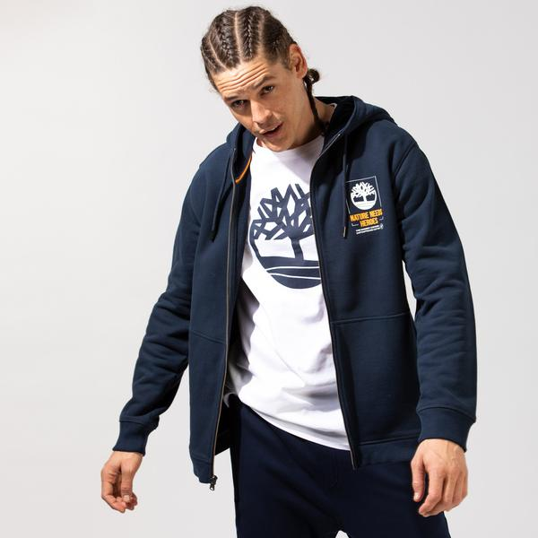 Timberland SS Full Zip Kapüşonlu Sweatshirt Erkek Lacivert Sweatshirt