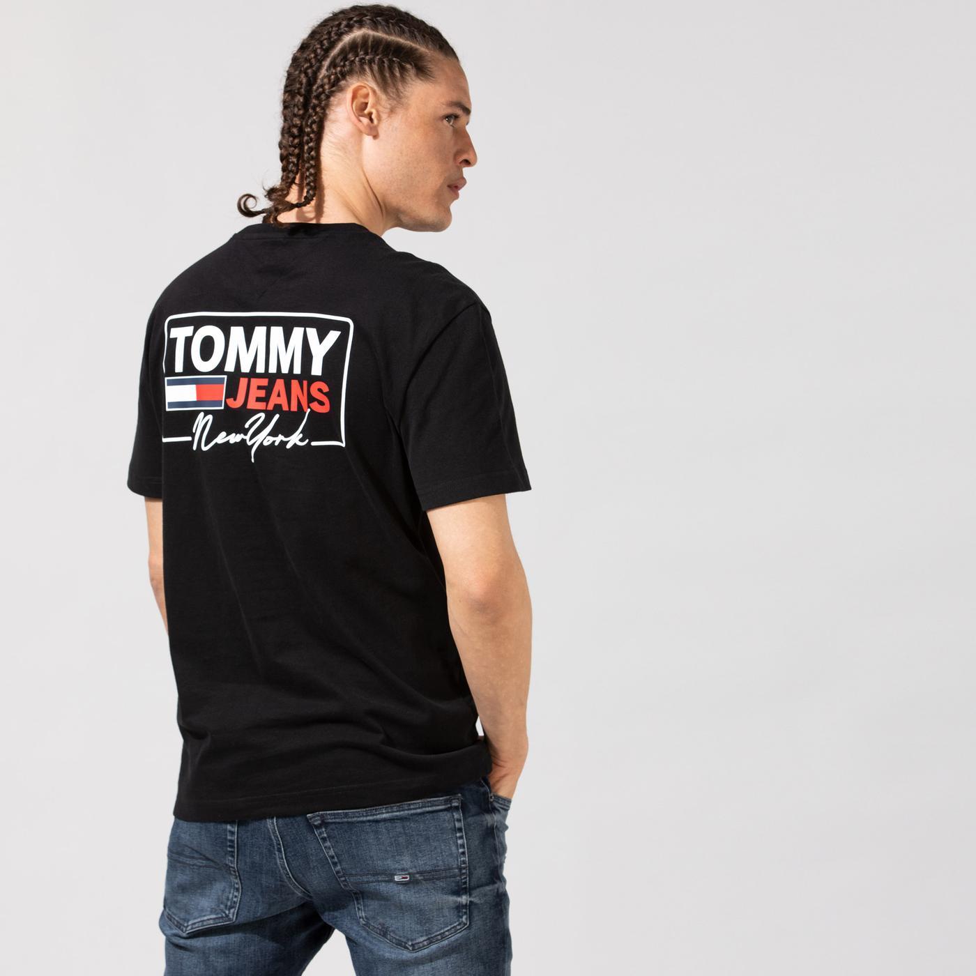Tommy Hilfiger TJM NY Script Box Back Logo Erkek Siyah T-Shirt